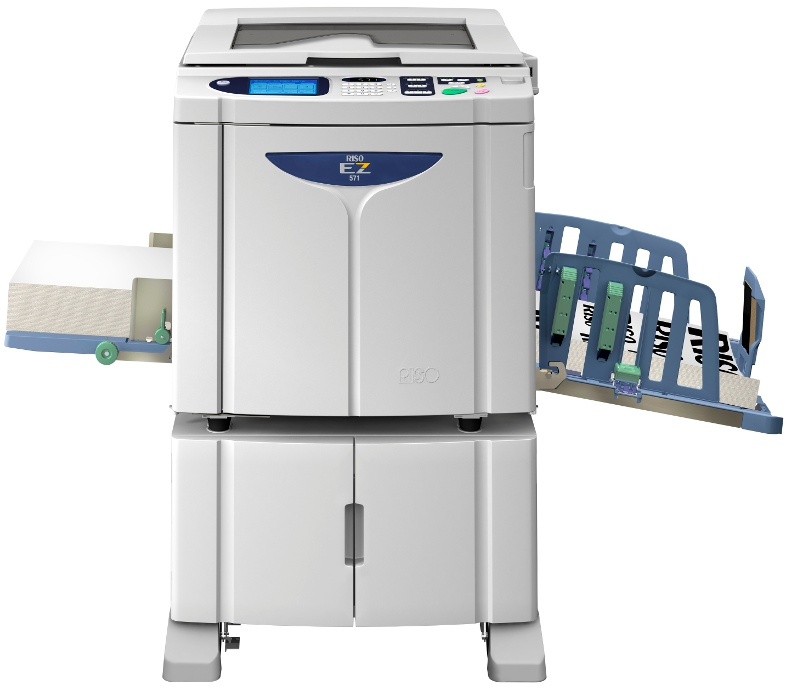 The Riso EZ571 Duplicator has an automatic 50 page original feed, key-card counter, network card, and prints card and envelopes