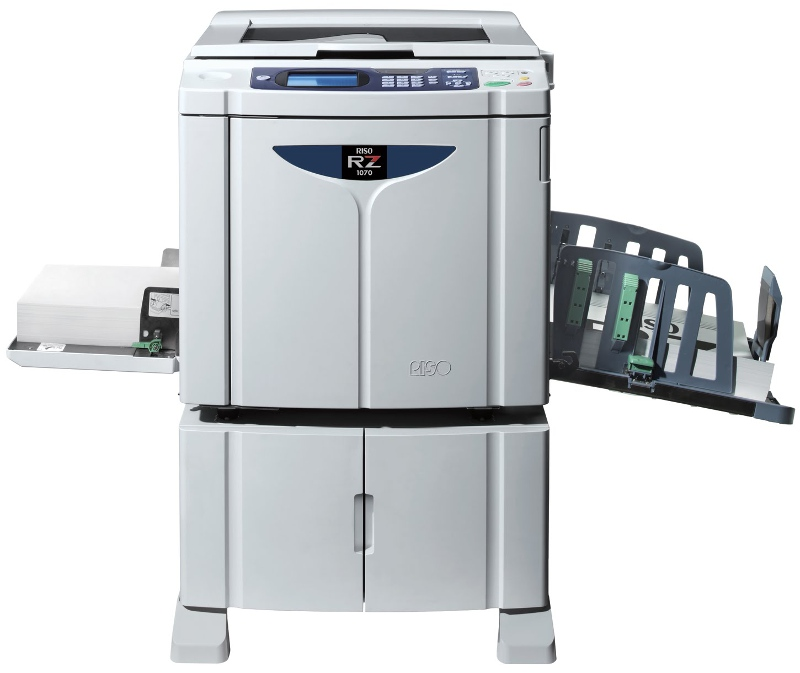 Riso RZ 1070 Duplicators deliver low cost black & white prints.